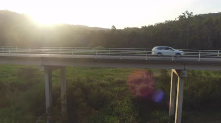 eukaliptus : AERIAL CLOSE UP, MOVING FORWARD: White SUV car driving across bridge over green Australian swamp on beautiful morning sunrise. Vast green grassy bog wetland in beautiful lush eucalyptus tree forest Wideo