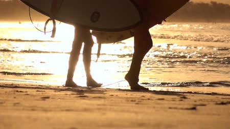 surfistas : SLOW MOTION CLOSE UP: Two unrecognizable female surfers walking along the beach at beautiful golden sunset in Byron Bay. Surfer girls carrying surfboards after surfing session in sunny summer evening