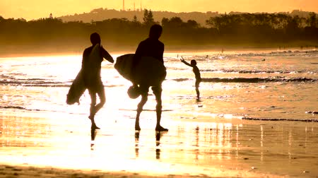 surfovat : SLOW MOTION CLOSE UP: Australian people enjoying seaside at amazing golden sunset in Byron Bay. Two surfers carrying surfboards and walking in shallow water along the beach in summer evening