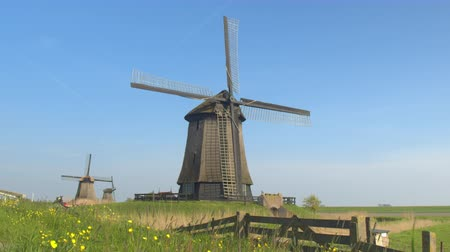 bulutsuz : CLOSE UP: Stunning traditional wooden windmills in charming picturesque lowland countryside under blue cloudless sky. Beautiful big mill on meadow grass field next to water canal on sunny summer day