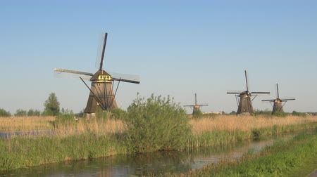 próximo : AERIAL: Flying next to stunning traditional Dutch windmills turning and draining the soil on vast agricultural grass field near big river stream at famous tourist site Kinderdijk, Netherlands Stock Footage