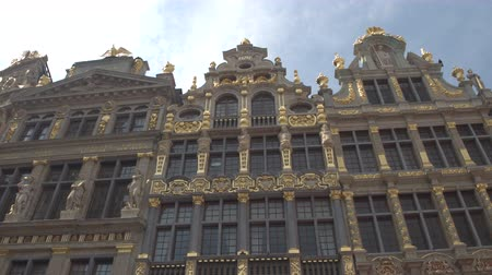 ornamentação : CLOSE UP, LOW ANGLE VIEW: Beautiful picturesque view of richly ornamented buildings at Great Market, Brussels, Belgium. Fascinating detailed historic architecture of guildhall on Grote Markt square Vídeos