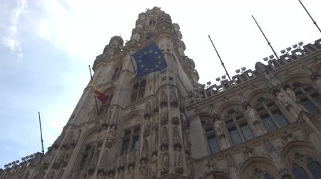 ornamentação : CLOSE UP, LOW ANGLE VIEW: Beautiful picturesque view of richly ornamented building at Grand Place, Brussels, Belgium. Fascinating detailed gothic style architecture of Town hall at Grote Markt square Vídeos