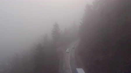 excesso de velocidade : AERIAL: Cars driving and speeding on dangerous misty forest road with poor visibility on dark foggy winter day in bad weather condition Vídeos