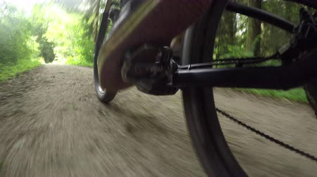 híbrido : CLOSE UP: Unrecognizable biker riding e-bike on white gravel road through the lush forest. Freeride biker pedaling electric bicycle along the offroad trail through green woods in sunny summer