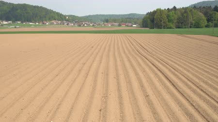 arado : AERIAL: Empty soil lines on big agricultural field in early spring. Plowed dirt rows on countryside farmland prepared for seeding and planting new crop in sunny spring in front of small suburban town Stock Footage