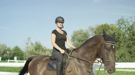 fouet : SLOW MOTION CLOSE UP: Beautiful big dark brown gelding trotting in sandy manege. Dressage female rider horseback riding a strong powerful brown stallion horse, training in outdoors riding arena