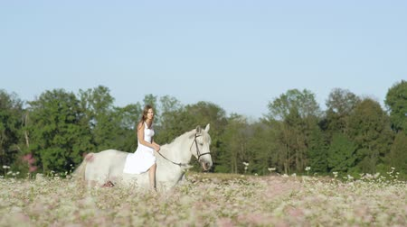 juba : SLOW MOTION CLOSE UP DOF: Beautiful girl in white dress bareback riding stunning grey horse through dense pink flowering field. Pretty young princess girl on fairy tale ride with mighty white stallion Stock Footage