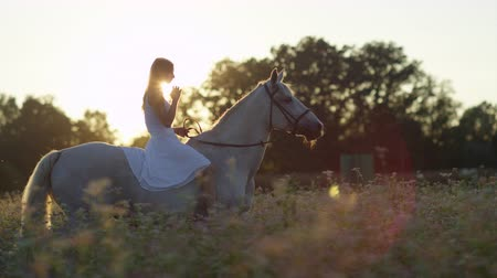 верхом : SLOW MOTION, CLOSE UP: Pretty girl in white dress bareback riding stunning horse through dense flowering field on magical golden light sunset. Young happy girl on ride with mighty stallion at sunrise