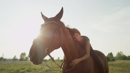 ruin : SLOW MOTION, CLOSE UP: Beautiful young Caucasian brunette girl laying on horses back, caressing and petting him on stunning sunny summer day. Loving friendship between dark brown stallion and woman