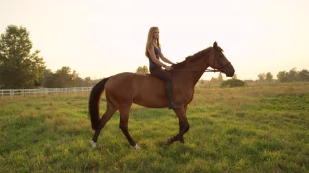 kobyla : SLOW MOTION, CLOSE UP: Beautiful young Caucasian blonde girl bareback riding mighty brown horse on vast meadow field on magical sunny summer day. Amazing relaxing ride on fresh morning