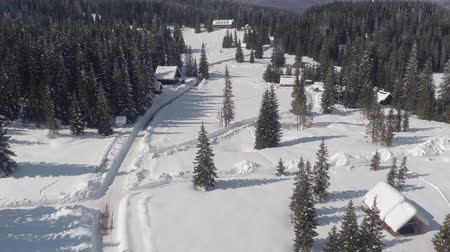 домик : AERIAL: Flying above plowed way leading to alpine hotel and ski resort in idyllic spruce forest on snowy plateau. Stunning cottages in wild winter wonderland, beautiful rocky mountains in backgrounds
