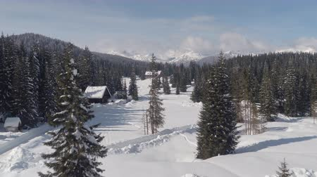 lodge : AERIAL: Flying above plowed way leading to alpine hotel and ski resort in idyllic spruce forest on snowy plateau. Stunning wild winter wonderland with beautiful rocky mountains in the backgrounds