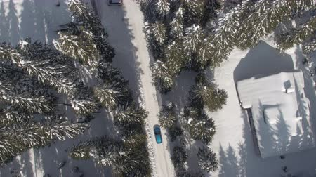 slovinsko : AERIAL: Blue sport car driving on slippery icy road along traditional alpine chalets in snowy ski resort on plateau. Amazing tourist vacation spot in beautiful conifer mountain forest on sunny winter Dostupné videozáznamy