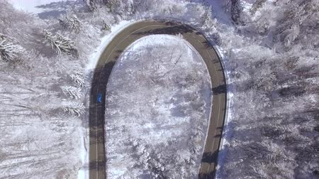 sahne : AERIAL: Flying above turquoise sports car driving through sharp curve in beautiful snowy forest on beautiful sunny winter day. Amazing road trip through scenic countryside nature in magical wintertime