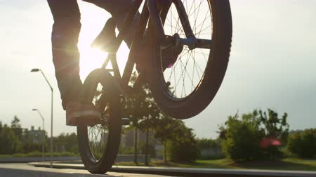 construir : SLOW MOTION CLOSE UP DOF: Extreme bmx biker riding on a concrete bench in park and biking on back wheel on sunny day. Cool biker doing wheelie trick on beautiful summer day Stock Footage