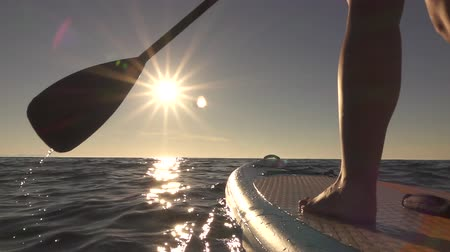 sup : SLOW MOTION, CLOSE UP: Woman standing firmly on inflatable SUP board and paddling. Hands pushing and pulling the paddle through shining water surface and propelling paddleboard on sunny morning Stock Footage