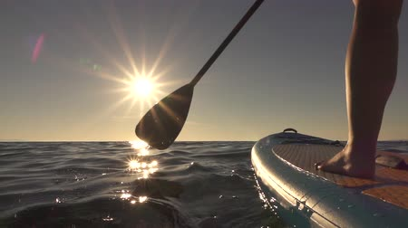 remo : SLOW MOTION, CLOSE UP: Donna in piedi saldamente sul SUP gonfiabile e paddle. Le mani spingono e spingono la pagaia attraverso la superficie lucente dell'acqua e spingono paddleboard in mattinata di sole