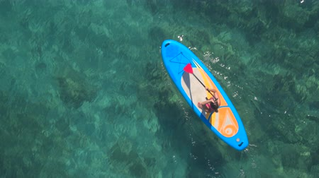 penetrating : AERIAL: Flying above pretty girl rider standup paddleboarding in beautiful crystal clear turquoise tropical sea. Sun rays penetrating transparent water revealing stunning rocky, stony and sandy seabed
