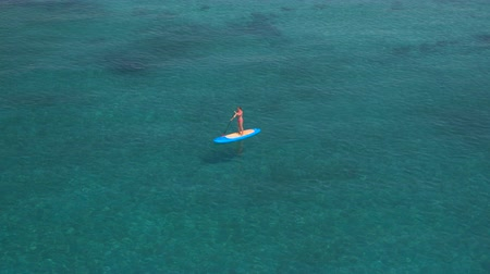 sup : AERIAL, CLOSE UP: Flying around attractive young female surfer in pink bikini standing on SUP board and paddling in stunning emerald ocean on amazing sunny day. Joy ride and relaxing summer holidays