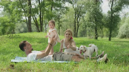 fetching : SLOW MOTION, CLOSE UP, DOF: Smiling young dad lying on blanket, playing having fun with cheerful sweet baby daughter. Beautiful mum sits beside and plays with cute little pet dog chasing a stick Stock Footage