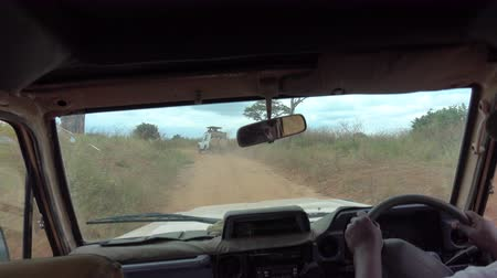 akát : TARANGIRE, TANZANIA - JUNE 10, 2016: Safari guide game driving tourists on rocky road in stunning African savanna wildlife resort. Exciting journey in Tarangire National Park through green woodland