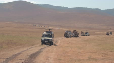 sıkışmış : NGORONGORO, TANZANIA - JUNE 10, 2016: Crowded safari game drive tours through breathtaking arid Ngorongoro volcano craters floor. Excited tourists game driving, sightseeing and photographing wildlife
