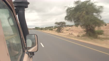 herder : KARATU, TANZANIA - JUNE 10, 2016: Safari jeep driving tourists on local country road towards national parks for a game drive. View from the cars window on African countryside and Maasai people Stock Footage