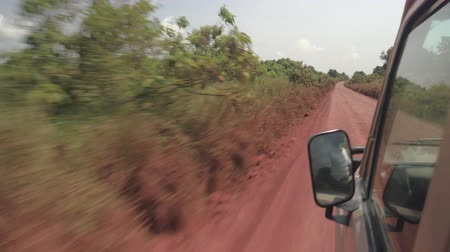 bushland : CLOSE UP: All terrain safari truck speeding on dusty road through breathtaking dense African savannah woodland driving tourists on game drive. Beautiful plants along the road covered with red soil dust Stock Footage