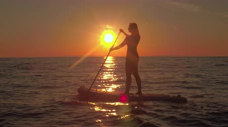 sup : AERIAL, CLOSE UP: Flying above cheerful girl riding inflatable paddleboard, enjoying stunning seaside and adventurous vacation at magical golden sunset. Sunshine reflecting on rippling ocean surface Stock Footage