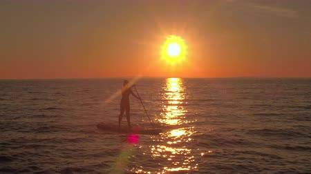 sup : AERIAL CLOSE UP DISTANCING: Flying above cheerful girl rider riding inflatable paddleboard, enjoying adventurous vacation at magical golden sunset. Sunshine reflecting on rippling sea surface