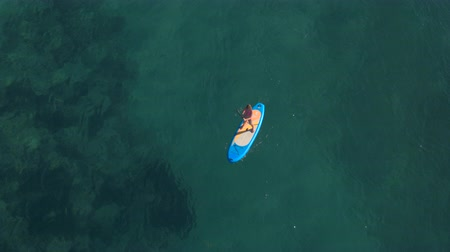 AERIAL, DISTANCING: Attractive woman in pink bikini standup paddleboarding on inflatable SUP board and propelling through crystal clear ocean water. Visible sea bottom with big rocks and white sand Wideo