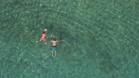 žába : AERIAL: Girlfriend and boyfriend swimming in crystal clear ocean lagoon towards rocky shore on amazing hot and sunny day. Sun rays penetrating transparent water shining on beautiful sandy sea floor Dostupné videozáznamy