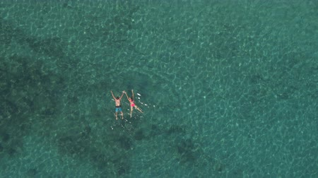 AERIAL: Joyful girlfriend and boyfriend swimming in crystal clear ocean lagoon playing, hugging, joking on perfect holidays. Sun rays penetrating transparent water shining on beautiful rocky sea floor Wideo
