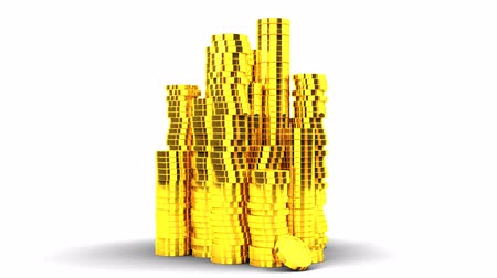 consecutivo : Gold Coins On White Background.Loop able 3D render Animation. Stock Footage