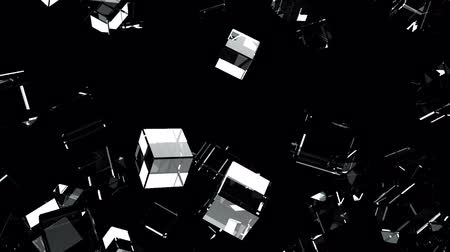 consecutivo : Glass Cubes Abstract On Black Background.Loop able 3D render Animation. Stock Footage