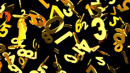 nombres : Gold Numbers On Black Background.Loop 3D 3D capable d'animation.