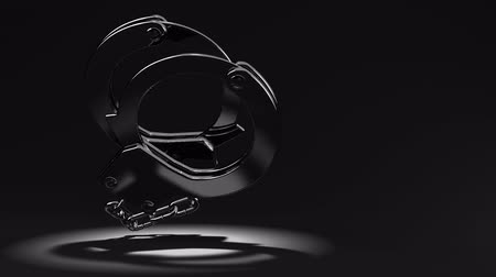 kajdanki : Handcuffs On Black Text Space.Loop able 3D render Animation. Wideo