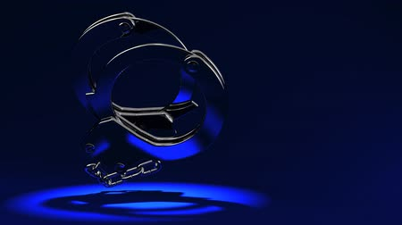 restraint : Handcuffs On Blue Text Space.Loop able 3D render Animation. Stock Footage