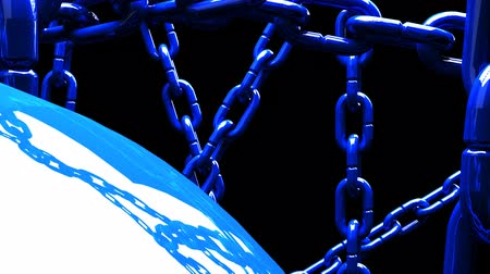 restraint : Blue Chains Abstract On Black Background