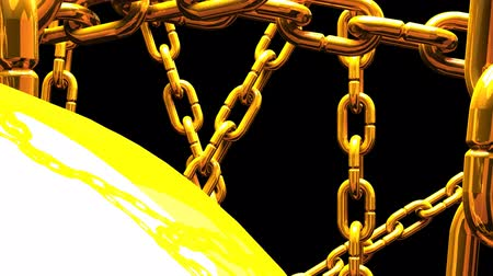 restraint : Gold Chains Abstract On Black Background Stock Footage