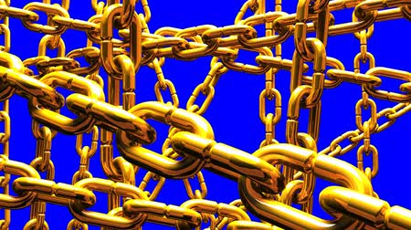 restraint : Gold Chains Abstract On Blue Chroma Key_Loop