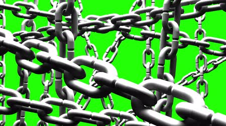 restraint : White Chains Abstract On Green Chroma Key_Loop Stock Footage