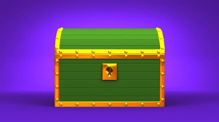 tesouro : Green Treasure Chest On Purple Background