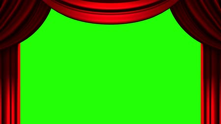 perdeler : Red Stage Curtain On Green Chroma key Stok Video