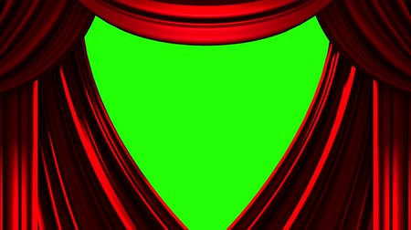 Red Stage Curtain On Green Chroma key Vídeos