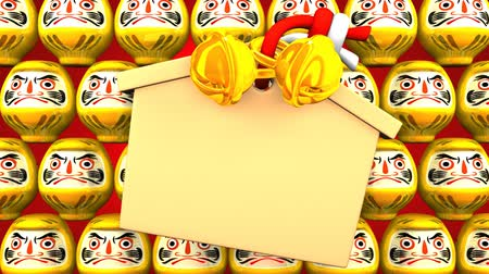 осуществлять : Yellow Daruma Dolls And Votive Picture On Red Background