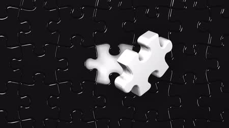 cancellation : Black Puzzle That Changing To White Stock Footage
