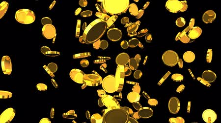 consecutivo : Falling Gold Coins On Black Background.Loop able 3D render Animation.