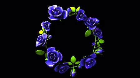 continuous : Blue roses frame on black text space.3DCG rendering animation that can loop. Stock Footage